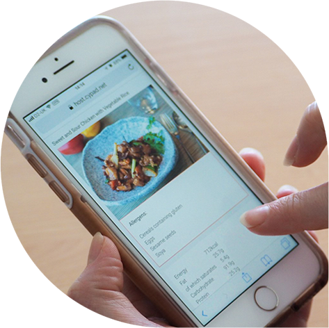Viewing meal choice information on a smartphone